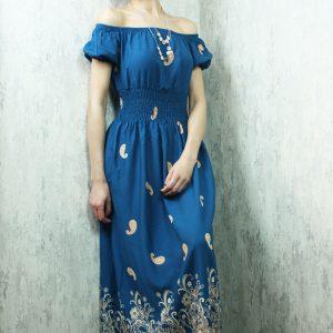 Kayık Yaka Uzun Elbise Petrol Mavisi
