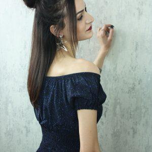Kayık Yaka Elbise Lacivert