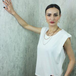 Sıfır Yaka Vatkalı T-shirt Beyaz